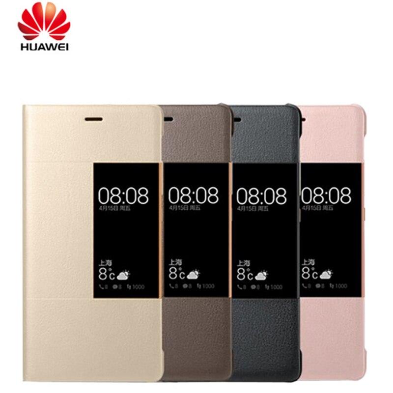 Цена за Оригинальный телефон чехлы для Huawei P9 флип Смарт ответ Вид из окна Синтетическая Кожа Case Чехол для Huawei Ascend P9 P9 Plus принципиально