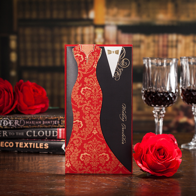 50pcs wedding invitations luxury dress engagement wedding party