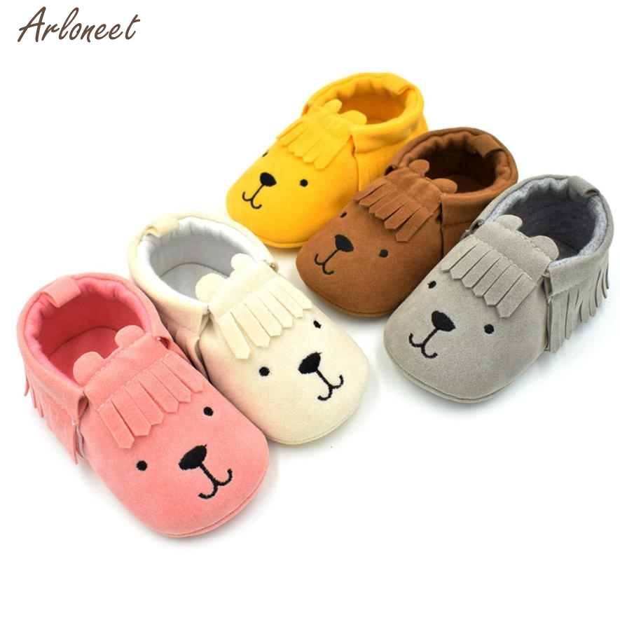 2018 baby shoes first walkers Leather Solid Slip-On Fringe infant girls summer shoes JAN16
