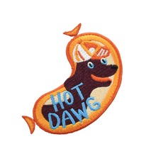 Hot Dog Cute Food Patches for Cloth iron on patches sew DIY Designs badge bags Embroidery custom applique