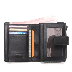 Image 5 - 브랜드 남자 지갑 클러치 블랙 정품 암소 가죽 남성 돈 가방 달러 가격에 대 한 동전 지갑 주위에 고품질 디자인 지퍼