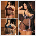 Europe and United States women's exotic  6 xl Sexy nightgown Lingerie woman skirt with shoulder-straps pajamas Sexy Lingerie