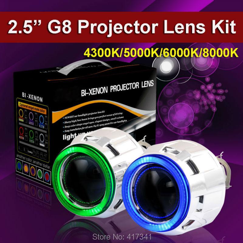 G8-COB 2.5 inches Mini HID Bi xenon Projector Lens H1 Xenon Bulb 4300K-8000K COB Angel Eye Halo for Car Headlight LHD/RHD 2 5 rhd lhd car motor bi xenon for hid projector halo lens angle eye headlights bulb shroud h1 h4 h7