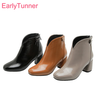 2019 Winter Brand New Sexy Yellow Black Women Ankle Riding Boots Hot High Heels Lady Nude Shoes EB120 Plus Big Size 10 32 43 46
