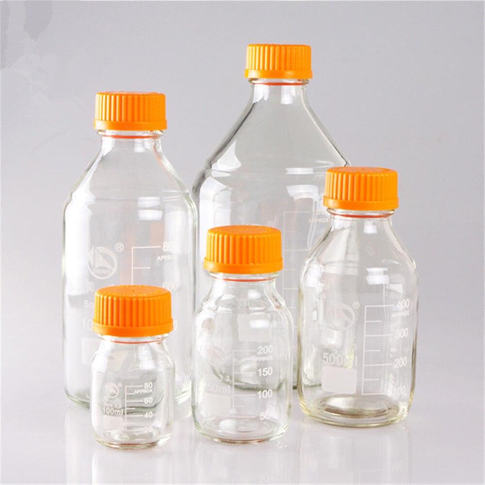 Reagent Bottle Sets Boro 3.3 Lab Glassware Borosilicate GL45 Orange Screw Cap