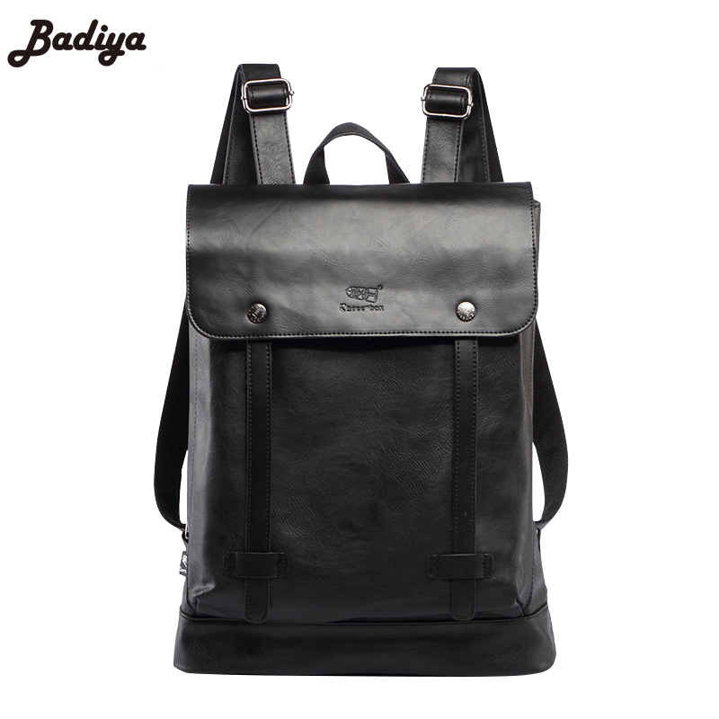 New Large Capacity Fashion Men's Black Backpack PU Leather Student Loptop Satchels Solid Cover Backpacks For Young Man