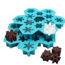 12 отверстий Снежинка пищевой силиконовый ледяной лоток производитель кубиков льда DIY креативная зимняя Снежинка ледяной куб пресс-формы для кухни