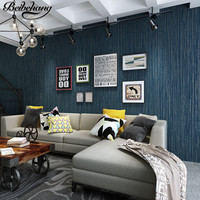 Beibehang High Quality Modern Simple Pure Pigment Color Dark Blue Non Woven Wallpaper Room Restaurant Full
