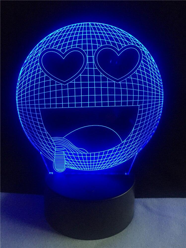 3D светодиодный ночник улыбка слюни наслаждаться Настольный светильник 7 видов цветов изменить Беспроводной фонарик Творческий дом переклю...