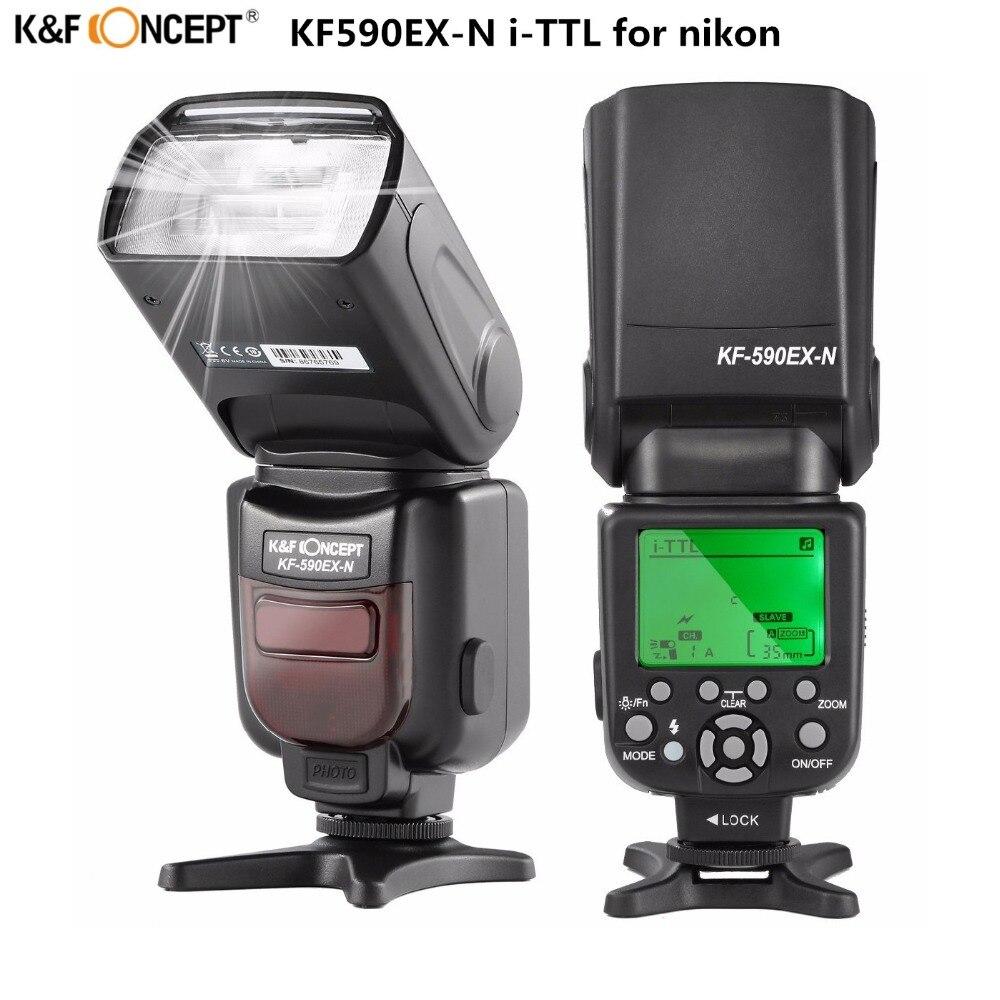K & F CONCETTO KF590EX-N LCD Wireless TTL Flash Speedlite Master Slave Lampeggiatore Nikon d3300 d3200 d800 d7200 d750 DSLR Camera
