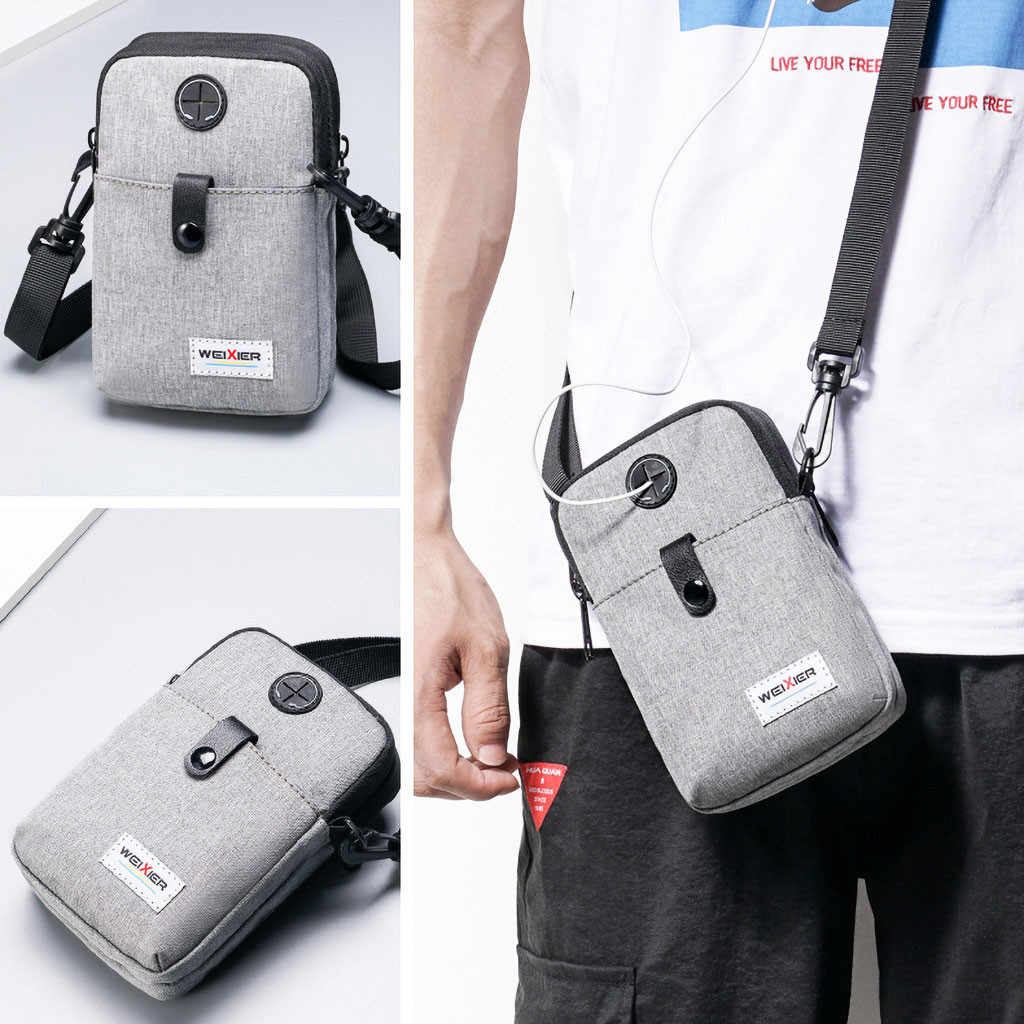 Men Diagonal Mini Shoulder Multi-Function Mobile Phone Bag Outdoor Sports Bag Support Wholesale And Dropship