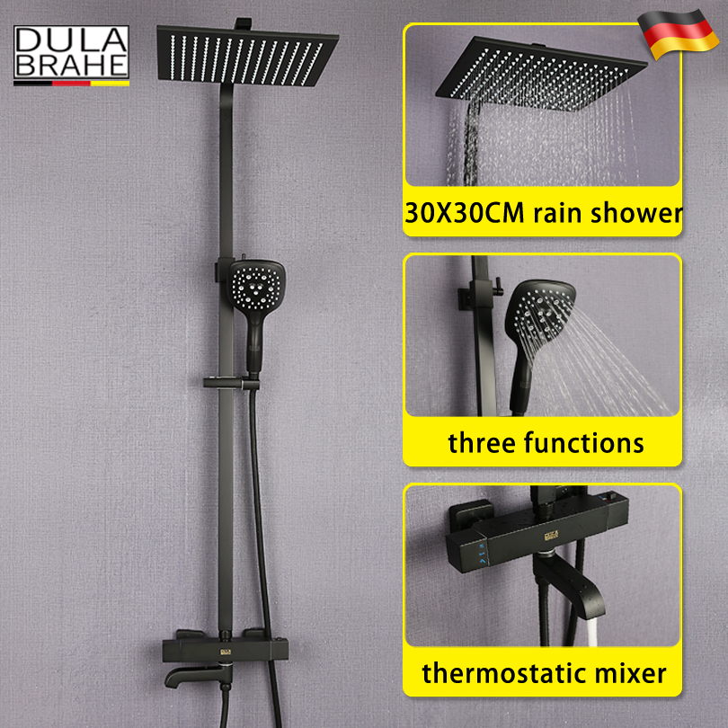 Bathroom Rain Shower Faucet Set Hot And Cold Thermostatic Mixer Tap Bath Shower Head Black Wall Mounted Shower System