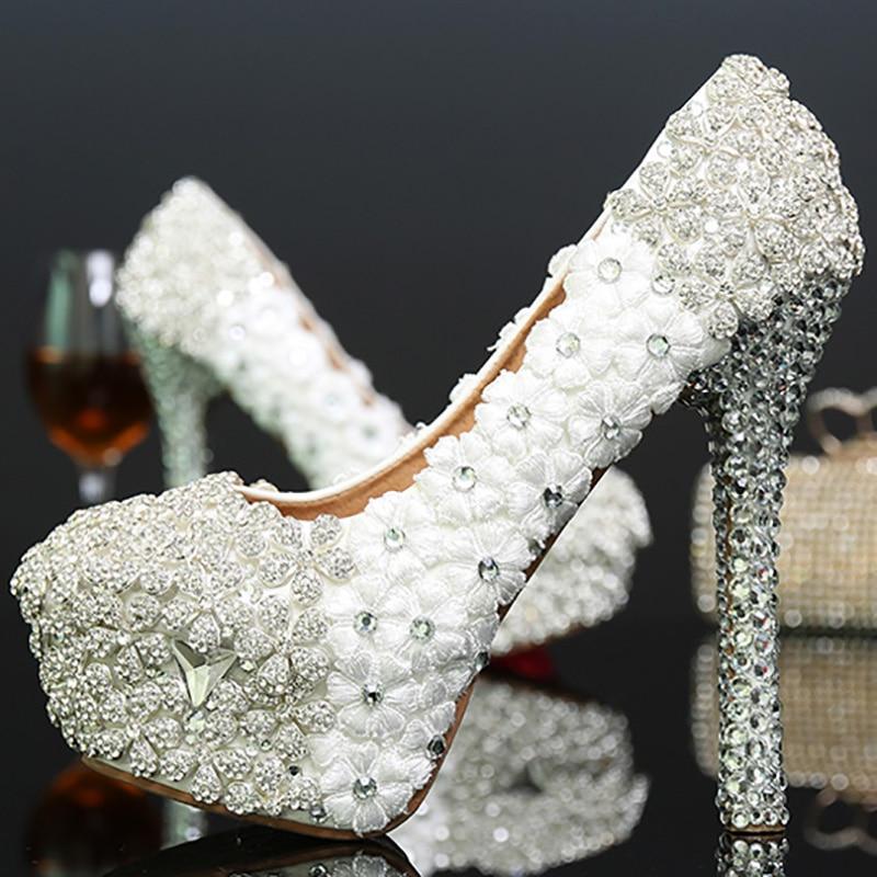 Haut Fleurs Rond 14cm Super Diamand Plate Pompes Heel Mariage Partie Mariée Slip Sexy Cristal Femmes Talon forme On De Laidy Chaussures Bout gwx4Iv