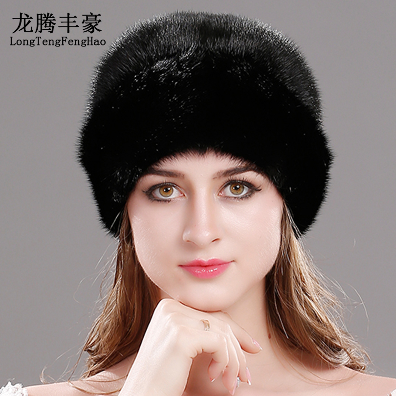 Real mink the whole skin hat 100% Genuine Mink Fur Beanies natural fur mink cap with fullfur fashion elegant ladies Skullies hat bodies the whole blood pumping story