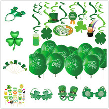 St Patricks Day Decorations Glasses Headwear Lucky Green Clover Swirl Phopo Balloons Cake Toppers for Irish Party Celebration