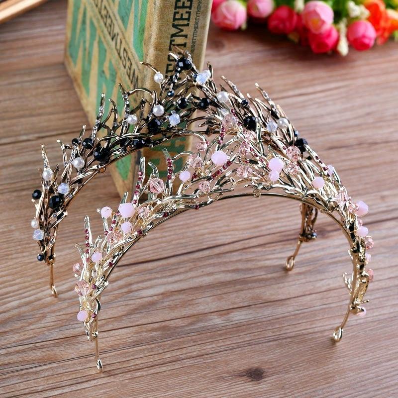 Black Baroque crown Tiaras Wedding Queen crystal Crowns Leaf Bridal Hair Accessories bride Headbands wedding hair jewelry