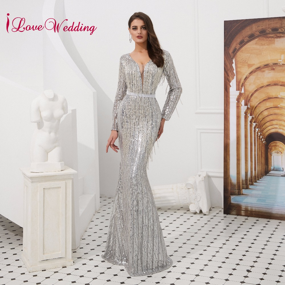 iLoveWedding Elegant V Neck Long Sleeves Formal   Dress   Custom Long Sleeves Luxurious Mermaid Party   Evening     Dresses