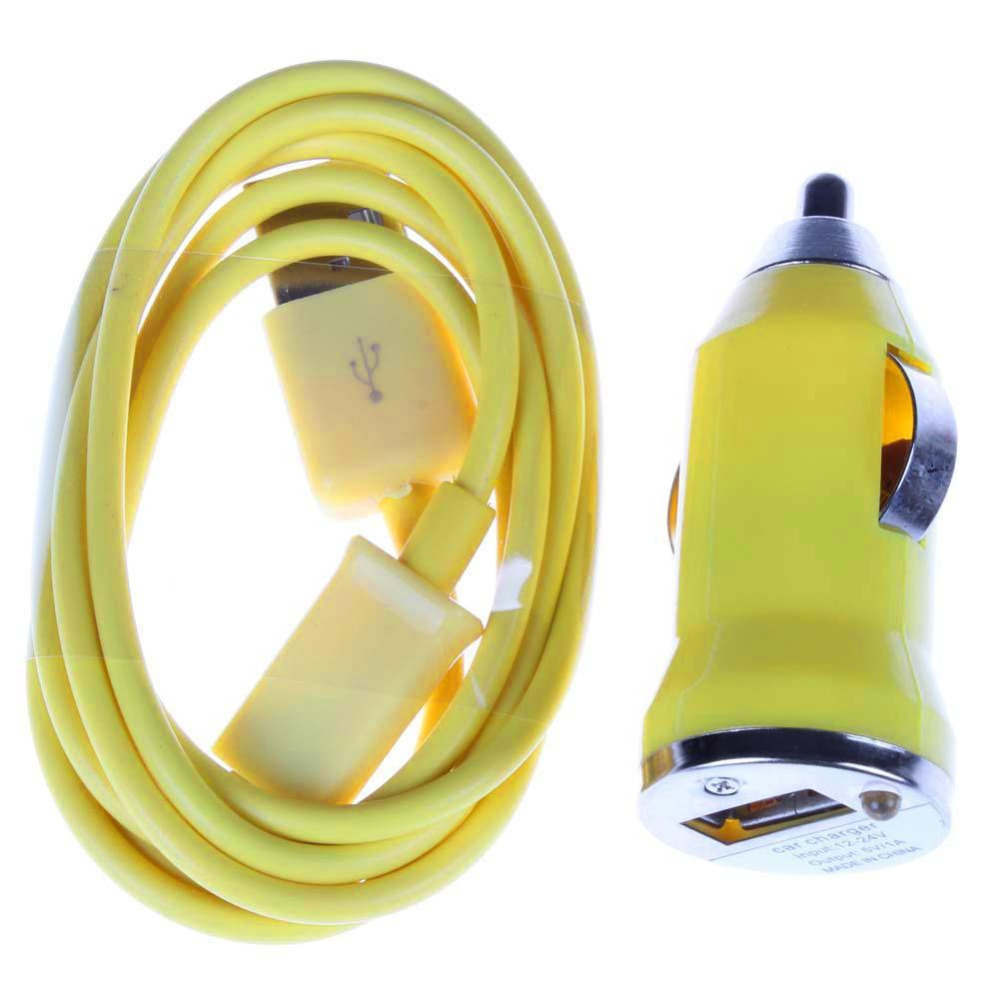Yellow USB Universal Car Charger + Data Sync