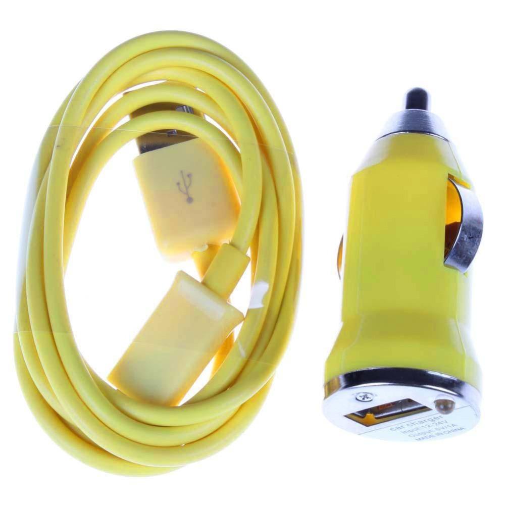 Yellow USB Universal Car Charger + Data Sync