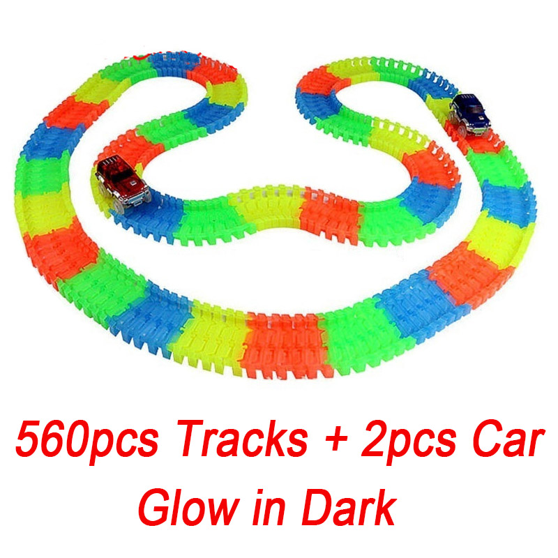 560pcs Track + 2 Cars glow racing Glowing Race Track Bend Flex Electronic Rail Glow Race Car Toy Roller Coaster toy for kid 280pcs miraculous race track bend flex car toy racing track set diy track electric rail car model set gift for kids