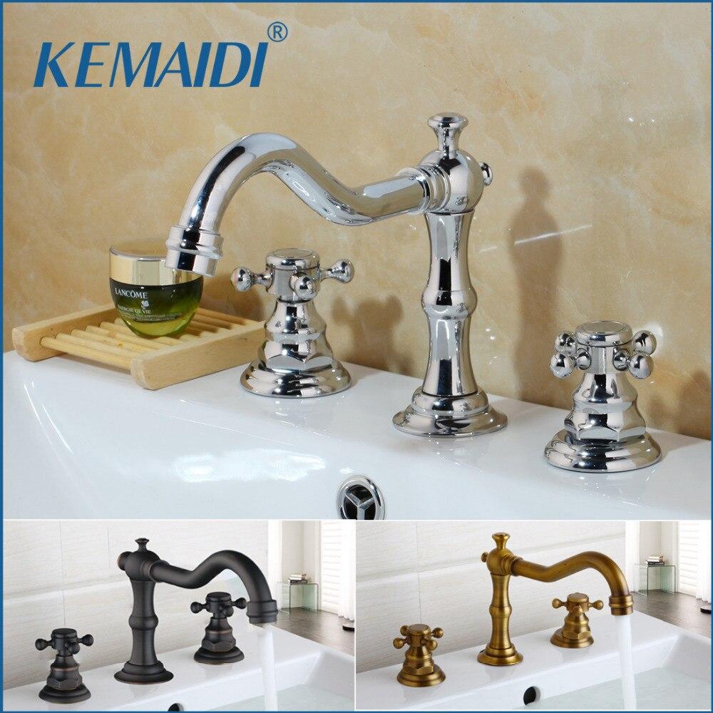 KEMAIDI Antique Brass Terminado Banheiro & Cozinha Bacia Toque Mixer Torneira Da Pia Dupla Alças 3 pcs Banheiro Torneira Da Bacia Torneira