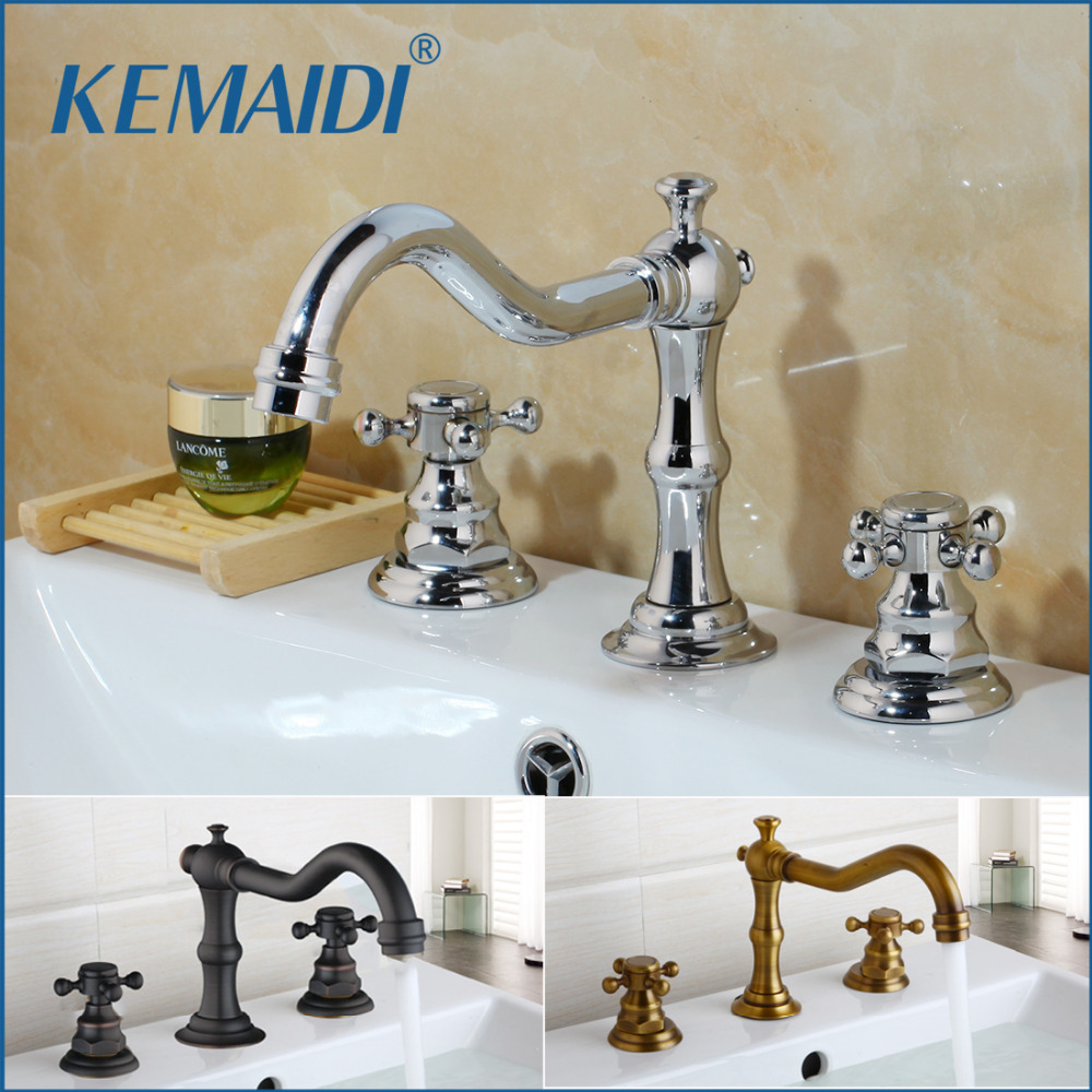 KEMAIDI Antique Brass Finished Bathroom & Kitchen Basin Mixer Tap Sink Faucet Double Handles 3 Pcs Bathroom Basin Faucet