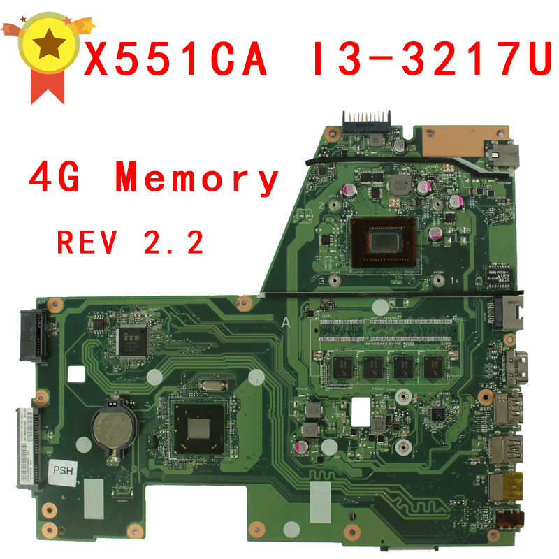 For ASUS F551C X551CA Motherboard with i3-3217 Processor 4G Memory on Board 60NB0340-MB6030 samxinno for asus x751ma motherboard x751md rev2 0 mainboard processor n2830 2g memory on board 100% test