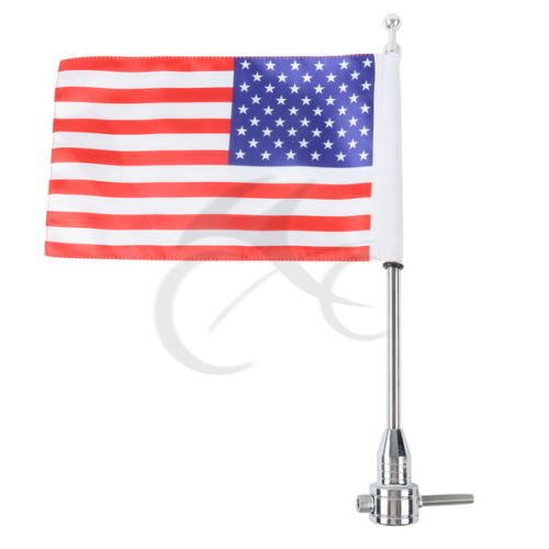 Luggage Rack Vertical Flag Pole & American Flag For Harley Road King Glide FLHT luggage