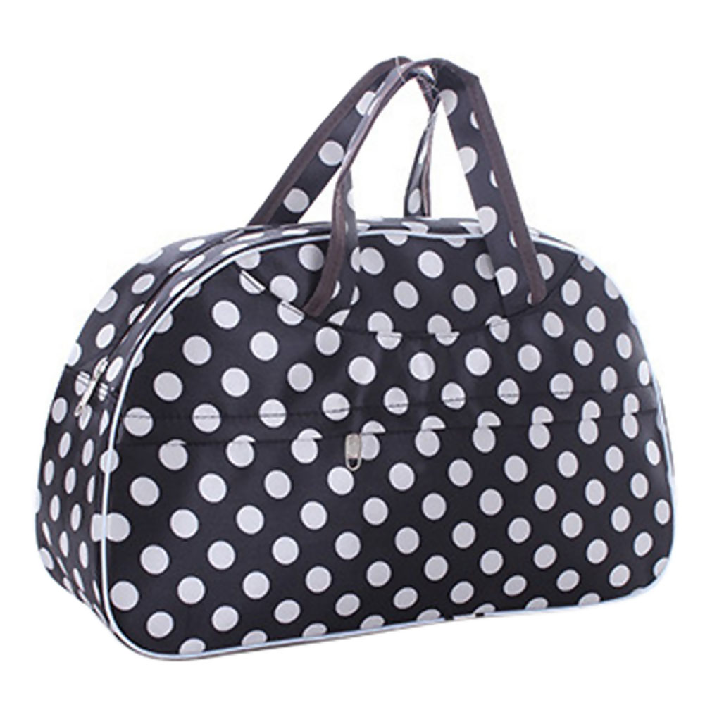 Fashion Waterproof Oxford Women bag White Dot with Black Bottom Travel Bag Large Hand Canvas Luggage