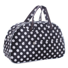 Fashion Waterproof Oxford Women bag White Dot with Black Bottom Travel Bag Large Hand Canvas Luggage Bags