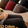 12 Cores Plus Size Leggings Novos Chegada das Mulheres de Alta Qualidade Da Moda Malha Magro Leggings Leggings Confortáveis Para As Mulheres