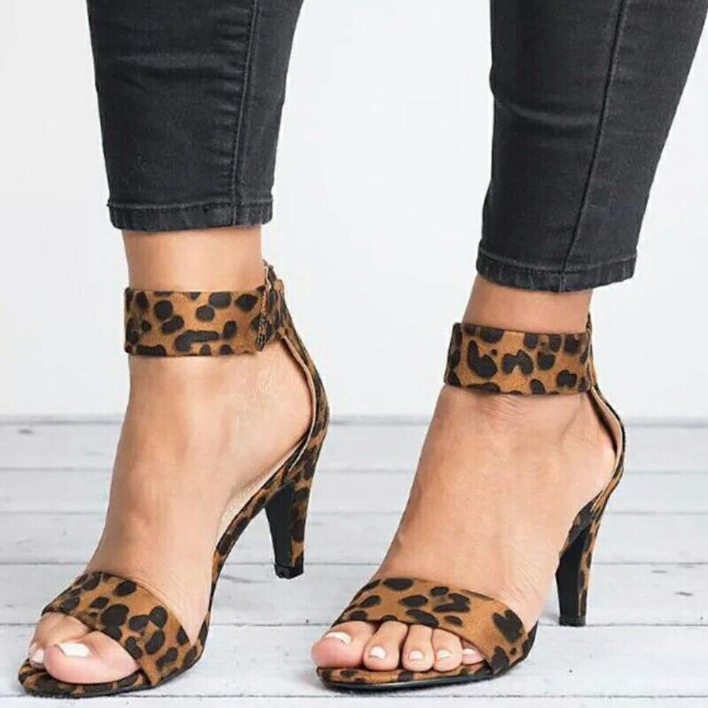 Sandals Summer Shoes Open-Toe High-Heels Print Leopard Plus-Size Women Ladies New Thin