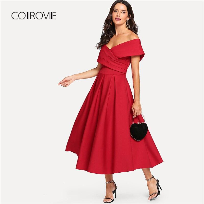 COLROVIE Red Elegant V Neck Box Pleated Cross Wrap Bardot Party Dress 2018 Autumn Flounce Sleeve