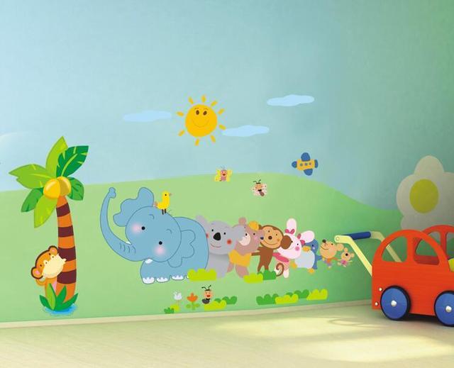Cartoon Animals Zoo Removable DIY Wall Stickers Kids Boy Living Room ...