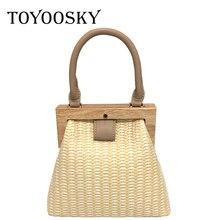 TOYOOSKY Straw Bag 2019 New Fashion Wooden Clip Women Shoulder Summer Travel Beach Luxury Handbags Bags Designer