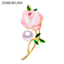 ZHBORUINI 2019 New High Quality Real Natural Freshwater Pearl Brooch Ceramic Enamel Flower Pins Jewelry For Women
