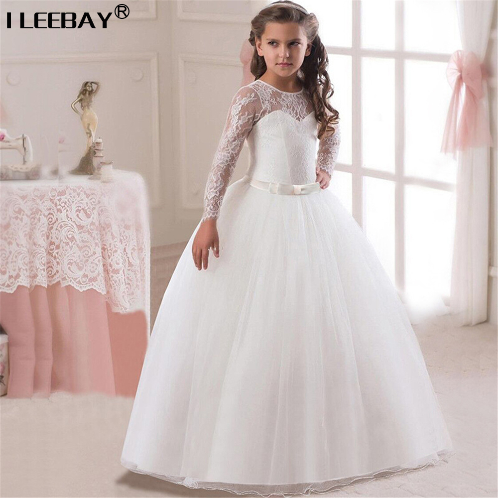 Wedding Party Dresses for Big Flower Girls Bridesmaid Vestido Kids Girl Bow Full Lace Sleeve Evening Dress Children Long Costume