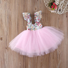 Newborn Toddler Baby Kids Girls Floral Dress Children short sleeve Backless Party Ball Gown Formal Dresses Sundress