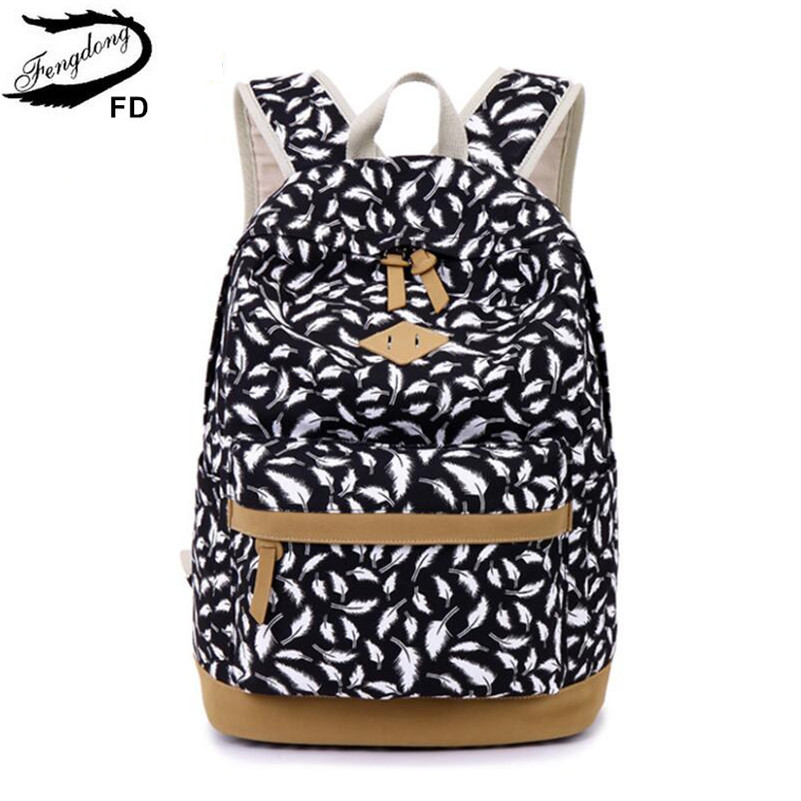 FengDong children's backpack kids bag school bags for girls feather printing canvas backpack for laptop book bag girl schoolbag