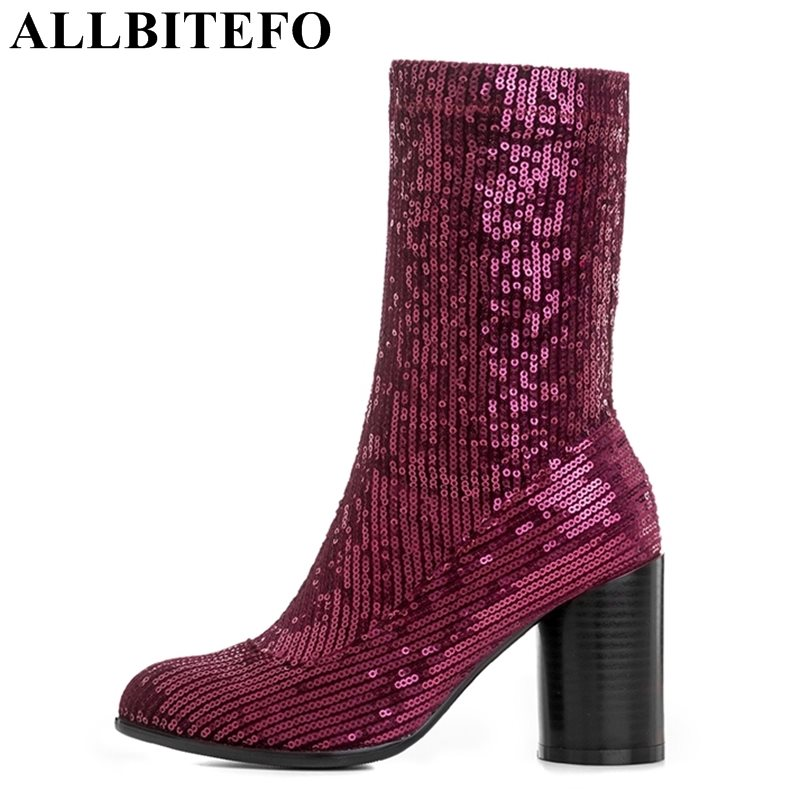 ALLBITEFO fashion sexy Sequins cloth thick heel women boots high heel shoes high quality martin boots girls boots size:34-43 qiu dong in fashionable boots sexy and comfortable women s shoes the new national style high heel heel thick heel