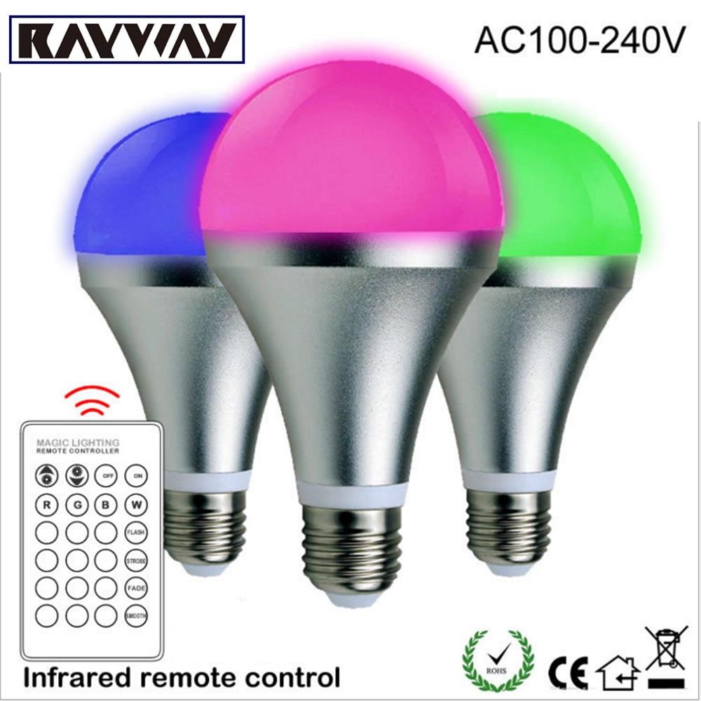 Rayway 5W 10W LED Light Bulb E27 16 Colors IR Remote Control RGB Lamp Aluminum Led Lighting Bulb 85-265V Spotlight