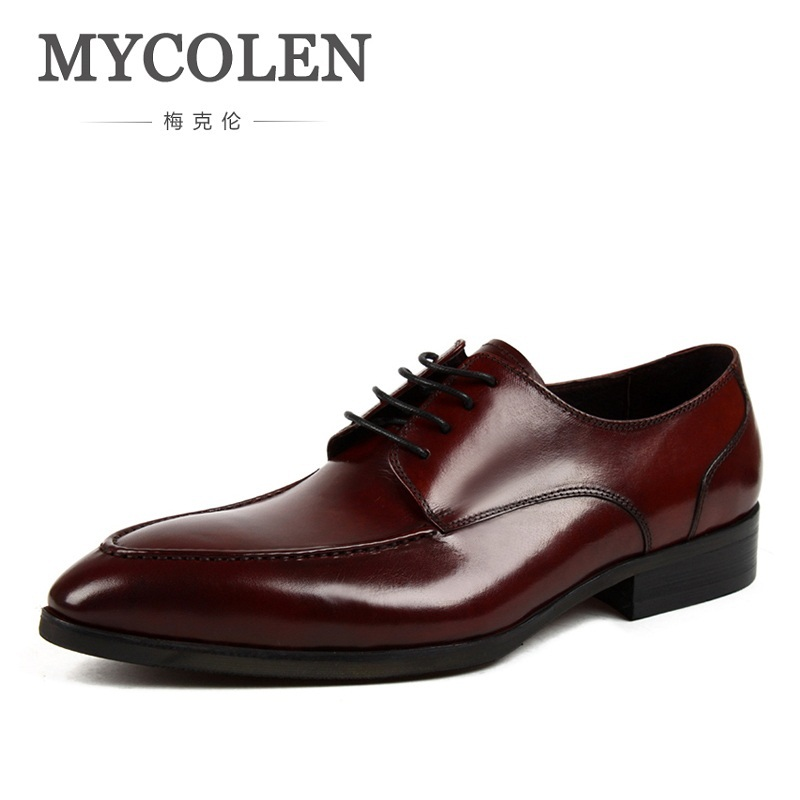 цены MYCOLEN Spring Leather Shoes Men Oxfords Genuine Leather Shoes Men's Formal Men Office Fashion Breathable Business Lace Up