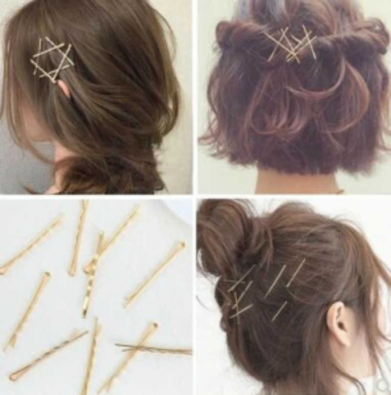 New Hairpin Fashion Fashion Ten Retro Cross Word Clip Female Simple Bang Clip Bride Gold Diy Style Clip Accessories Wholesale