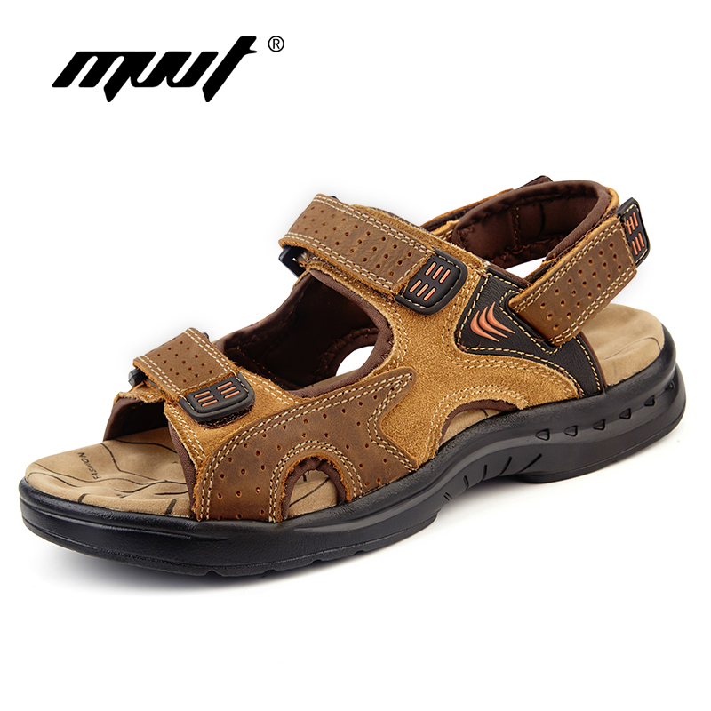 Genuine Leather Men Sandals Suede Leather Sandalias Hombre Cowhide Male Summer Shoes Slippers Outdoor Casual  Sandals Men