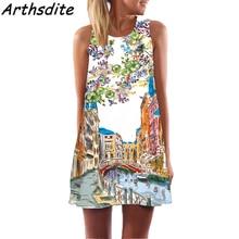 Arthsdite 2018 Floral Print Chiffon Mini Tank Dress Boho Vintage Women Sexy Casual Party Dress Beach A-Line Summer Dress