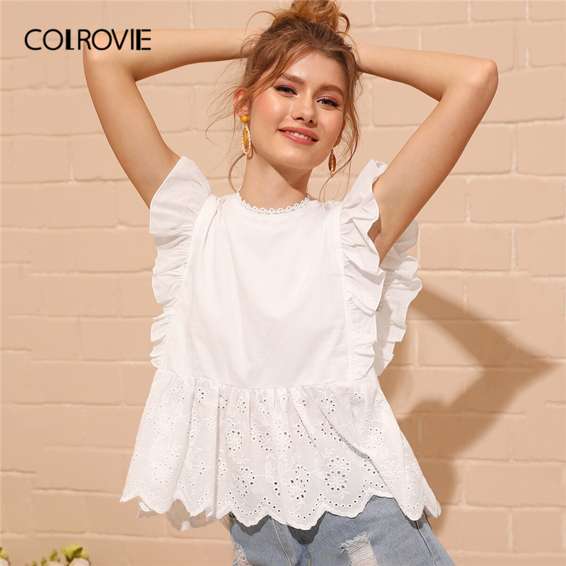 COLROVIE White Eyelet Embroidered Ruffle Cuff Elegant Peplum Top Women Boho Blouse Shirt 2019 Summer Korean Sweet Female Blouses