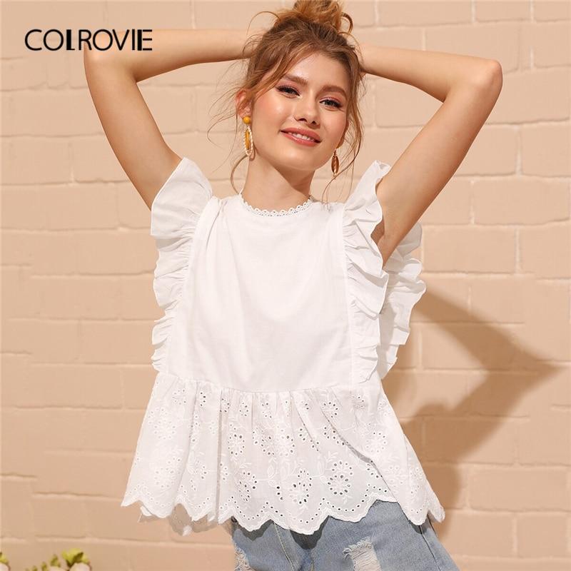 COLROVIE White Eyelet Embroidered Ruffle Cuff Elegant Peplum Top Women Boho   Blouse     shirt   2019 Summer Korean Sweet Female   Blouses