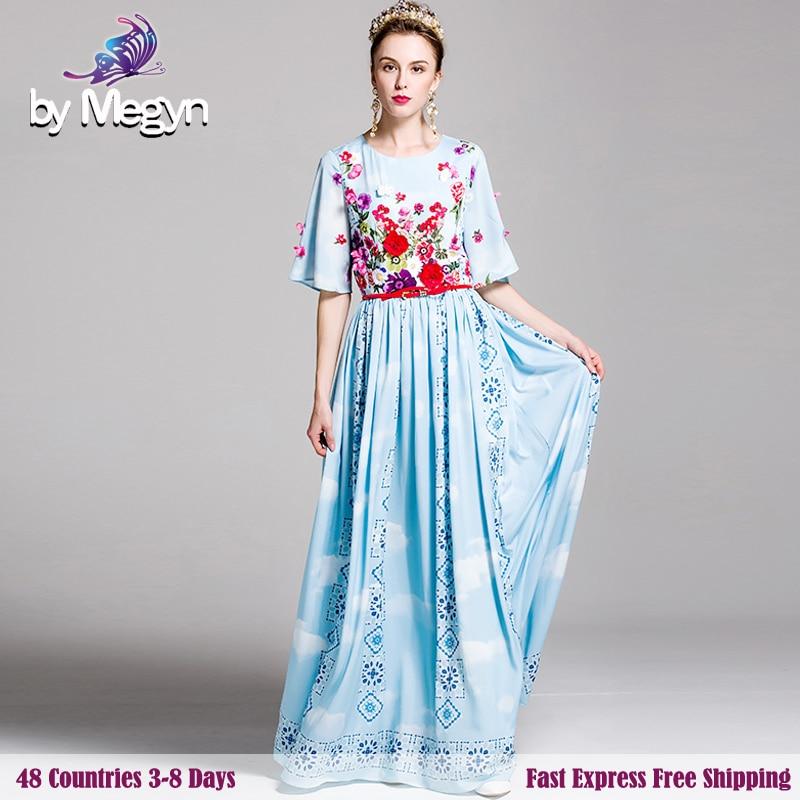2017 Runway Designer Dress Brand High Quality Flower Appliques Flare Sleeve  Big Sweep Print Floor Length dec49a6d38cf
