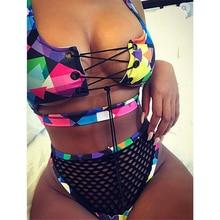 Swimwear Women High Waist Net Bikini Set Brazilian Multicolor