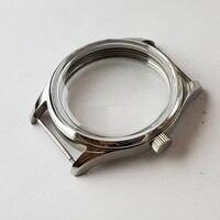 Obudowa zegarka 42mm ze stali nierdzewnej ręcznie nakręcany polerowane zegarki sprawa nadaje się do ETA 6497/6498 st3600 ruch w null od Zegarki na